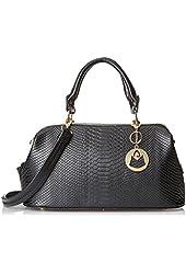 MG Collection Elpida Faux Crocodile Rhinestone Accent Doctor Handbag
