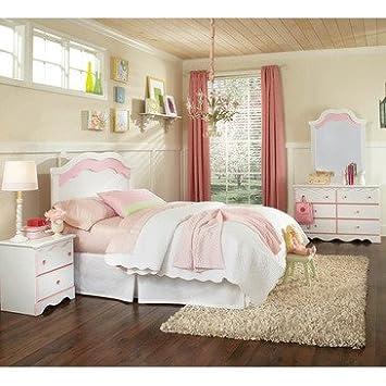 Standard Furniture Bubblegum 4 Piece Headboard Bedroom Set in White & Pink