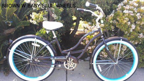 "Women's Tahiti 26"" Beach Cruiser Coaster Brake Stainless Steel Spokes One Piece Crank Alloy Baby Blue Rims 36H W/ Fenders Color: Brown/ Baby Blue (Sticker: Baby Blue)"