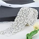 Wide Crystal Bridal Wedding Dress Sash Belt Applique 1 Yard with Rhinestones Pearls Beaded Dacorations Handcrafted Sparkle Elegant Thin Sewn or Hot Fix for Women Gown Evening Prom Clothes - Silver (Color: Silver-463, Tamaño: 36*2.1 Inches)
