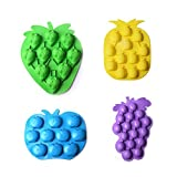 Astra Gourmet Set of 4 Fruits Series Silicone Cake Fondant Mold/Candy Mold/Ice Cube Tray/Chocolate Mold(Strawberries, Pineapples, Apples, Grapes) (Color: random color, Tamaño: 14x17cm)
