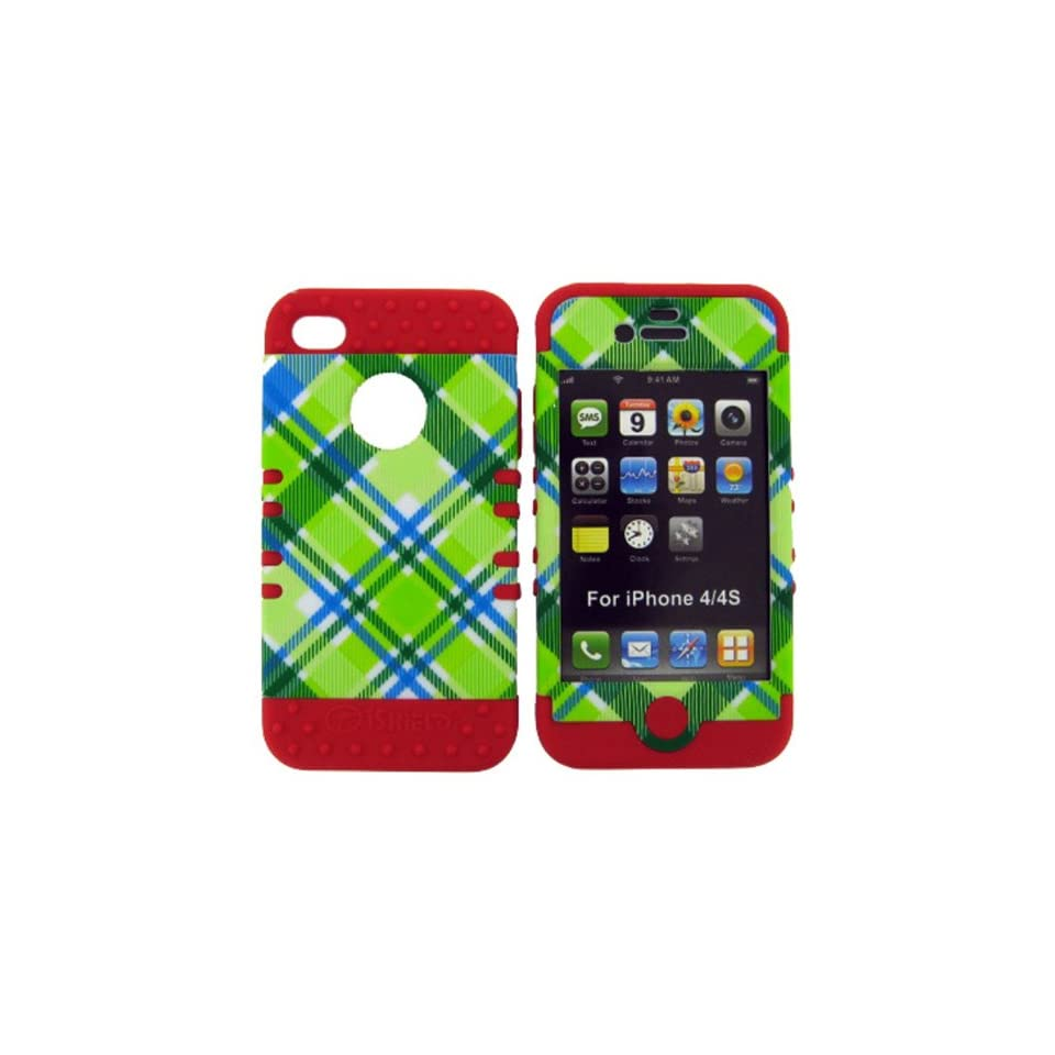 SHOCKPROOF HYBRID CELL PHONE COVER PROTECTOR FACEPLATE HARD CASE AND RED SKIN WITH MINI STYLUS PEN. KOOL KASE ROCKER FOR APPLE IPHONE 4 4S PLAID RD TE339