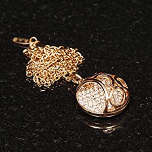 Women's 18K Rose Gold Plated Necklace with Pave Open Ball Pendant