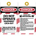 """NMC LOTAG28-25 """"DANGER - DO NOT OPERATE EUIPMENT LOCK-OUT"""" Lockout Tag, Unrippable Vinyl, 3"""" Length, 6"""" Height, Black/Red on White (Pack of 25)"""