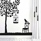 DeStudio Tree With Chair, Multi Color, Wall Stickers (Wall Covering Area : 122cm X 130cm)-11444