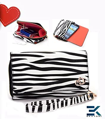 [UpTown] PU Leather Women's Wallet with Wrist Strap Universal Phone Bag Compatible with Samsung Galaxy Mini S5570 Case - ZEBRA PRINT