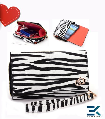 [Uptown] Pu Leather Women'S Wallet With Wrist Strap Universal Phone Bag Compatible With Apple Iphone 5 5G 5S 5C | 5S | 5C Case - Zebra Print