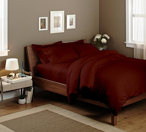 Bedding Spa 800 Thread Count Pima Cotton Split Sheet Set Solid (Queen, Brick Red) front-412699
