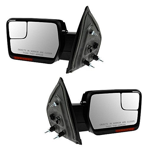 Nova for 07-14 F150 Mirrors Pair Power Heated Turn Signals Puddle Lights Dual Glass Chrome Cover (F150 Mirror Heated Turn Signal compare prices)