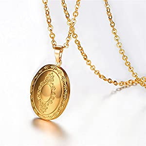 Oval locket pendant necklace 18k gold plated memorial photo lockets oval locket pendant necklace 18k gold plated memorial photo lockets charm valentines gift jewelry for womengirls aloadofball Gallery