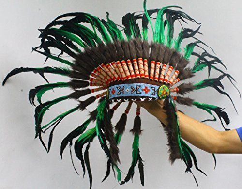 Artisan Indian Headdress - Free Shipping From Usa - Chief Headdress With Real Rooster Feathers - War Bonnet - Green