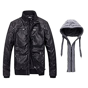 Wantdo Men's Leather Jacket with Removable Hood