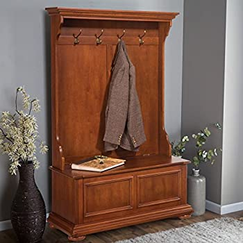 Home Styles 5527-49 Homestead Hall Tree and Storage Bench, Distressed Warm Oak Finish