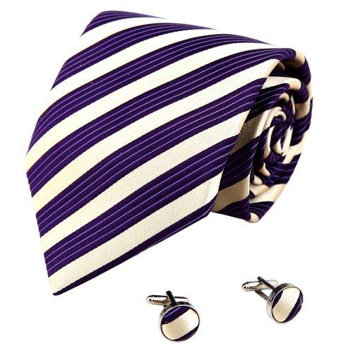 Purple Stripes Necktie, Cufflinks Box Set certificate Wedding tie for men Y&G excellent Tie Set A1202