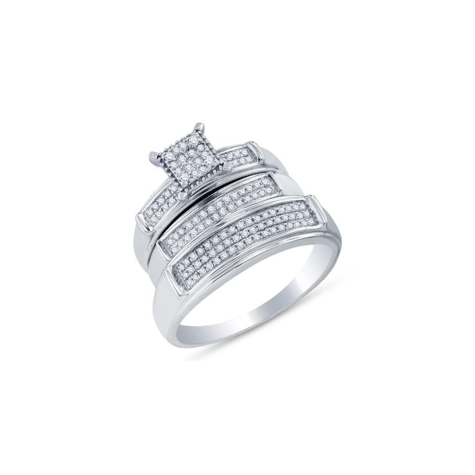 """10K White Gold Prong Set Round Brilliant Cut Diamond Mens and Ladies Couple His & Hers Trio 3 Three Ring Bridal Matching Engagement Ring Wedding Band Set   Square Princess Shape Center Setting   (.37 cttw.)   SEE """"PRODUCT DESCRIPTION"""" TO CHOO"""