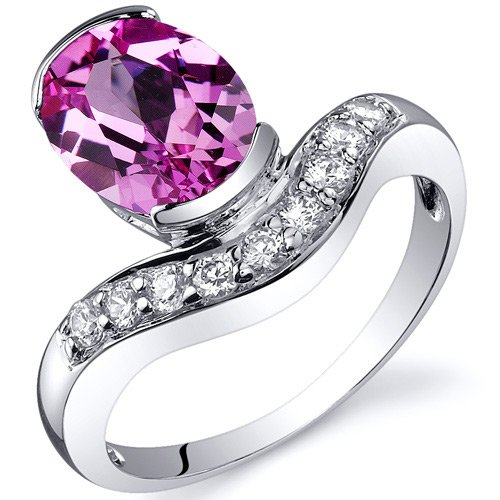 Revoni Channel Set 2.50 carats Pink Sapphire Diamond CZ Ring in Sterling Silver