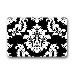 Amazoncom black and white damask pattern classic for Black and white damask bath mat