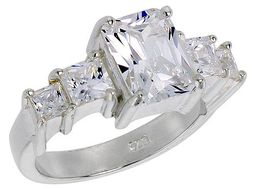 Sterling Silver 2.5 Carat Size Emerald Cut Cubic Zirconia Bridal Ring (Available in Sizes 6 to 10) size 10