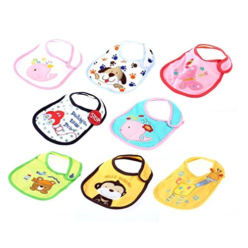 Xhan Cute Double Layer Waterproof Cotton Kids Baby Bib Bibs Saliva Towel Unisex Boys Girls(Pack Of 3) -- Random Color front-568060