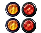 """2 Amber 2 Red LED 2"""" Round Clearance/Side Marker Light Kits with Light and Grommet Truck Trailer RV Pack of 4"""