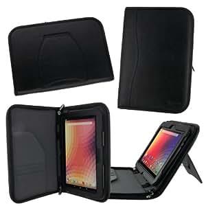 rooCASE Google Nexus 10 (Black) Executive Portfolio Genuine Leather Case Cover - Support Landscape / Portrait / Typing Stand / Auto Sleep and Wake
