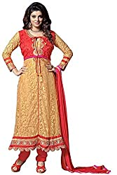 Vibes Womens Net Patch Work Anarkali Dress Material (V226-7003 _Yellow _Free Size)