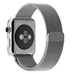 ProElite 38 mm Stainless Steel Milanese Loop Strap with Magnetic Lock Buckle Wrist Band for Apple Watch - Silver [*Watch NOT included*]
