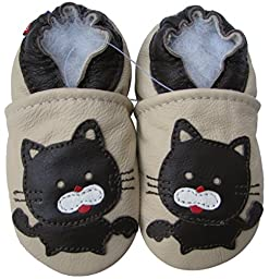 Carozoo baby boy soft sole leather infant toddler kids shoes Black Cat Cream 3-4y
