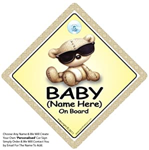 Baby On Board Shades Personalised Car Sign Baby On Board