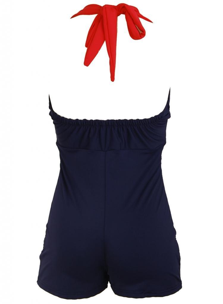 Bow Front Navy Blue Vintage Pin up Rockabilly Women's Swimsuit Swimwear 1