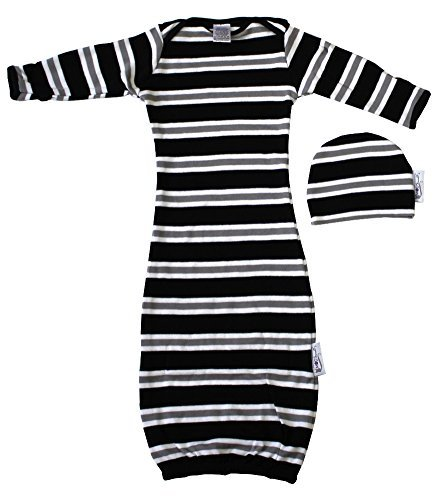 Woombie Indian Cotton Gowns Plus Hat, Jailhouse Rock, 7-15 Lbs