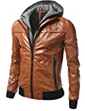 J.TOMSON Mens Detachable Hoodie Leather Look Biker Jacket by NYC Leather Factory Outlet