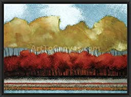 38in x 28in Fallen Sky IV by Roy LaTova - Black Floater Framed Canvas w/ BRUSHSTROKES