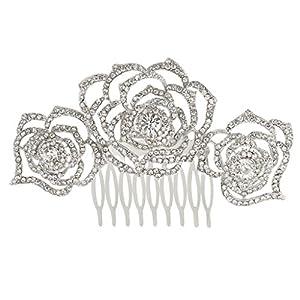Ever Faith Silver-Tone Austrian Crystal Wedding 3 Rose Flowers Hollow-Out Hair Comb Clear A12035-1