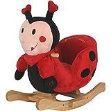 Plüsch Baby-Schaukel Käfer mit Metallkern, gute Polsterung, weiches Kuschelfell || Schaukelpferd Schaukeltier Holz Babyschaukel Schaukel-Wippe