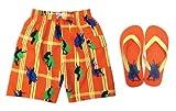 Jump'N Splash Boys Skate Swim Trunk Orange w/ FREE matching Flip Flops & Goggles