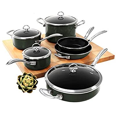 Chantal Copper Fusion Cookware Chef Set 10 Piece Pots Pans Home Kitchen- Black