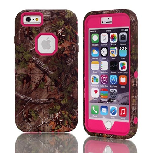 iPhone 6 Plus Case MOUKOUTM Tree Camouflage Camo 3Pieces Hybrid Hard Soft Case Cover for iphone6 55inchHot Pink