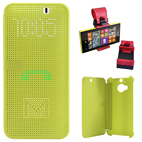 DMG Dot View Interactive Flip Cover Case for HTC One M9 Plus (Green) + Car Steering Holder