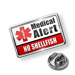 Pin Medical Alert Red No Shellfish - Lapel Badge - NEONBLOND by NEONBLOND