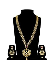 Cz Ruby Traditional Long Necklace Set
