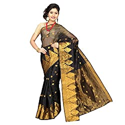 Pavechas Banarasi Cotton Net Polka Print Zari Saree - MKG Dno 912 Black MK1898