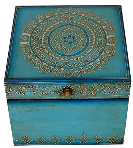 SouvNear Turquoise Blue Keepsake Box / Trinket Box / Jewelry Box / Storage Box - Vintage 6