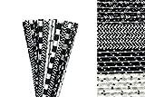Black and White Halloween Paper Straws Mix - Black, White, Spiders, Skulls, Chevron, Polka Dot (50)