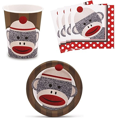 Sock Monkey Red Birthday Party Supplies Set Plates Napkins Cups Kit for 16 at 'Sock Monkeys'