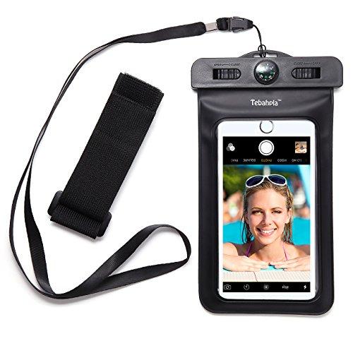 (テバップラ)Tebahpla スマートフォン用 防水ケース 防水保護等級IPX8 iPhone6s/iPhone6splus/iPhone5s/Samsung Galaxy/Nexus/Xperia等6インチ機種まで対応 ネックストラップとアームバンド付 (ブラック)