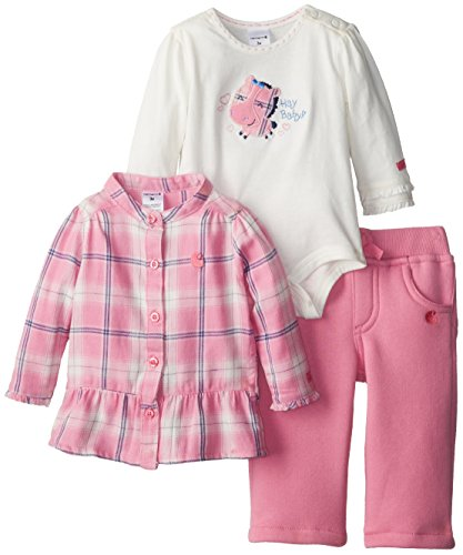 Carhartt Baby-Girls Newborn Brushed Fleece 3 Pant Piece Set, Rosebloom, 12 Months front-869508