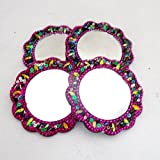 Magenta Home Decor Indian Floral Pattern Crafted Material Lac Beaded Set of 4 Pcs Decorative Travel Vanity Purse Mirrors Pouches Gift