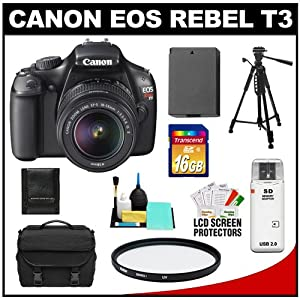 Canon EOS Rebel T3 12.2 MP Digital SLR Camera Body & EF-S 18-55mm IS II Lens with 16GB Card + Battery + Case + Filter + Tripod + Cleaning & Accessory Kit