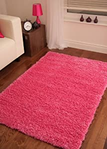 Bright Pink Super Soft Luxury Shaggy Rug 5 Sizes Available from The Rug House